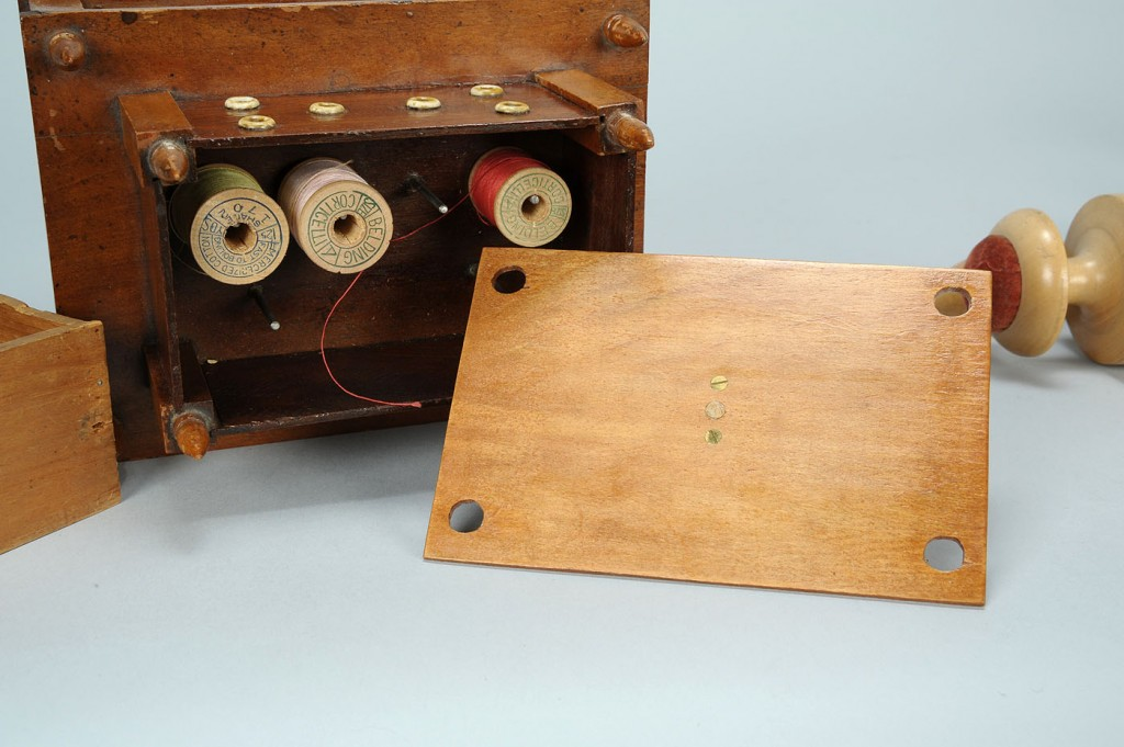 Lot 609: Shaker sewing box & wooden implements