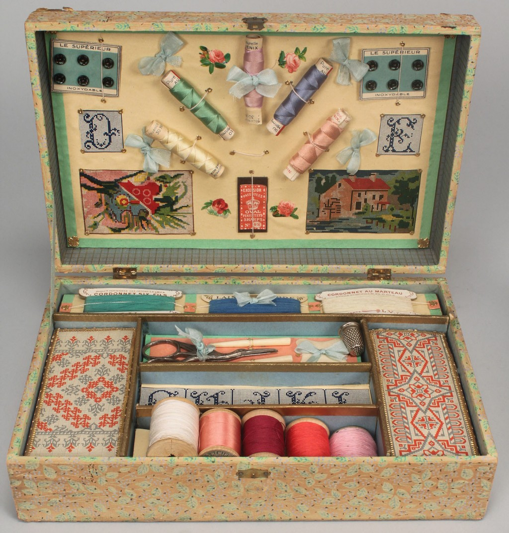 Lot 610: 2 Antique Embroidery Kits w/contents