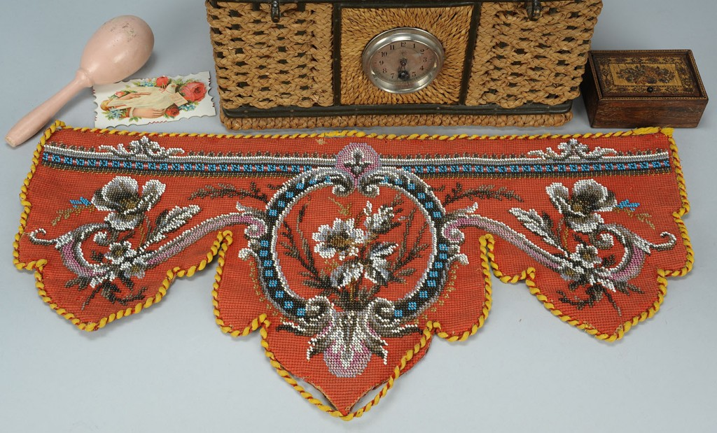 Lot 611: Unusual sewing basket with clock & contents