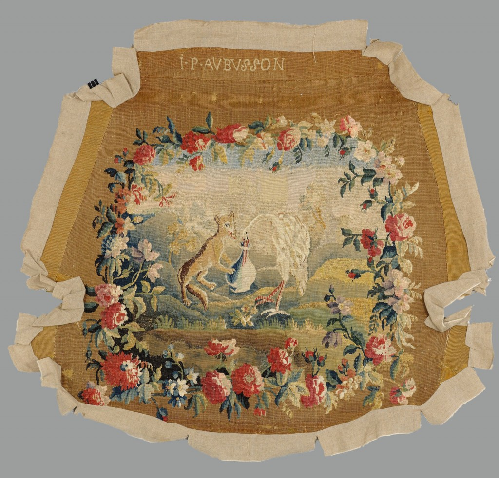 Lot 613: 18th c. signed Aubusson Tapestry Panel, Fox & Stor