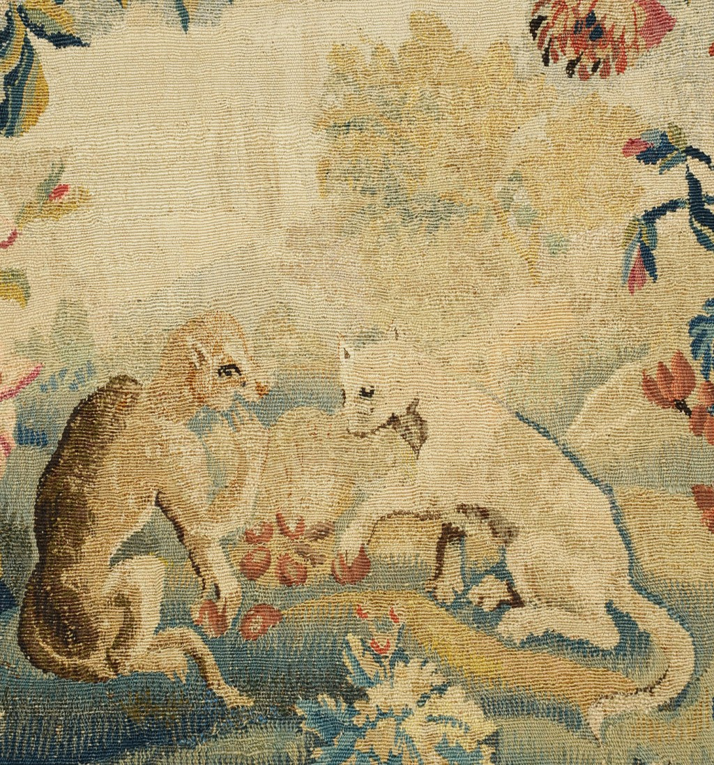 Lot 614: 18th c. Aubusson Tapestry Panel, Fox & Monkey