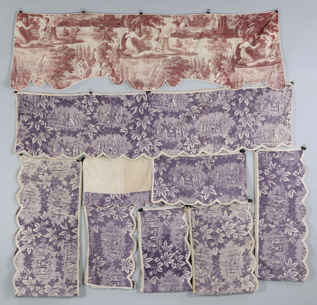 Lot 615: Set of 18th c. Toile Bed Hangings or Valances