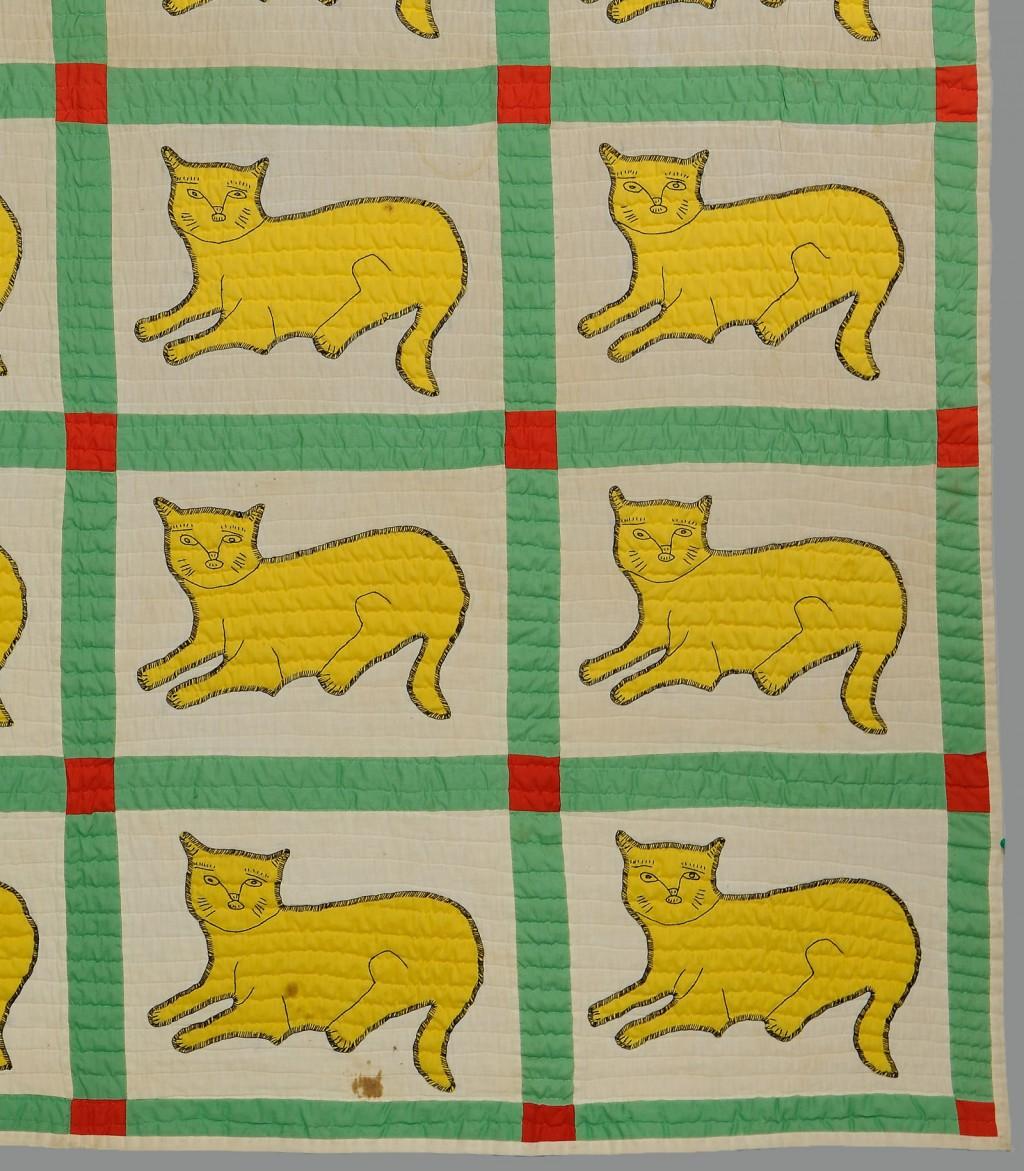 Lot 619: East TN Applique Quilt w/ repeating cat design