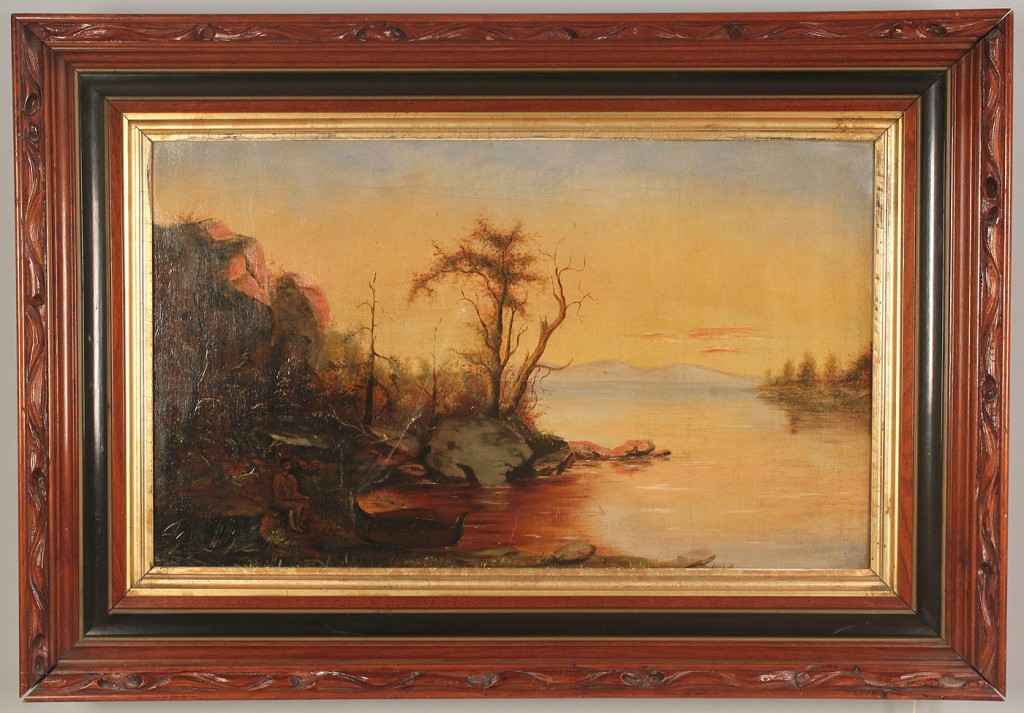Lot 624: American school landscape with Indian, oil on canv