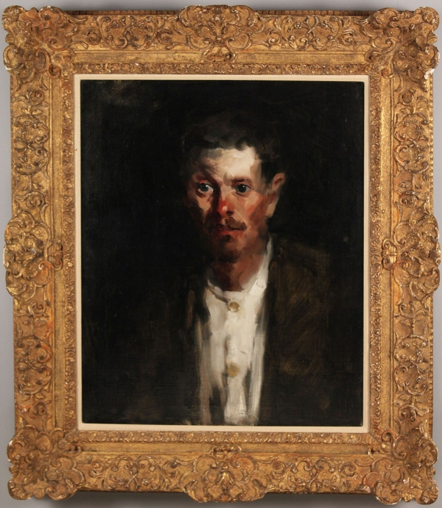 Lot 627: Randall Davey oil on canvas, Portrait of a Man