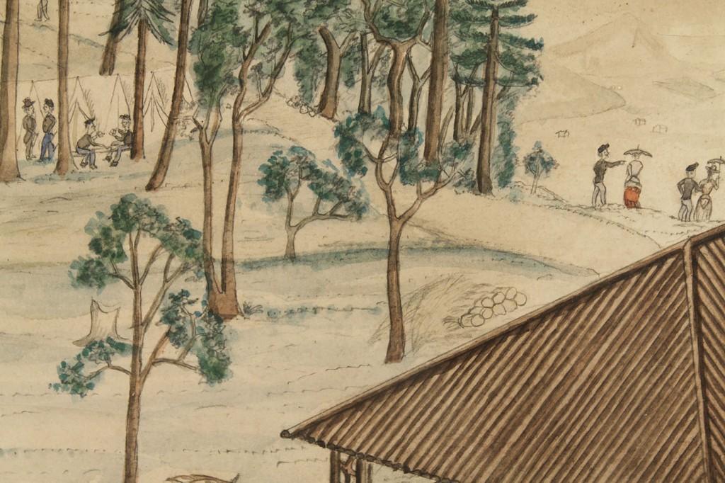 Lot 62: Drawing of a Civil War or Reconstruction Encampmen