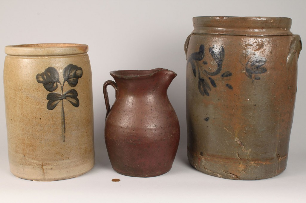 Lot 637: 3 Southern Stoneware Pottery Items