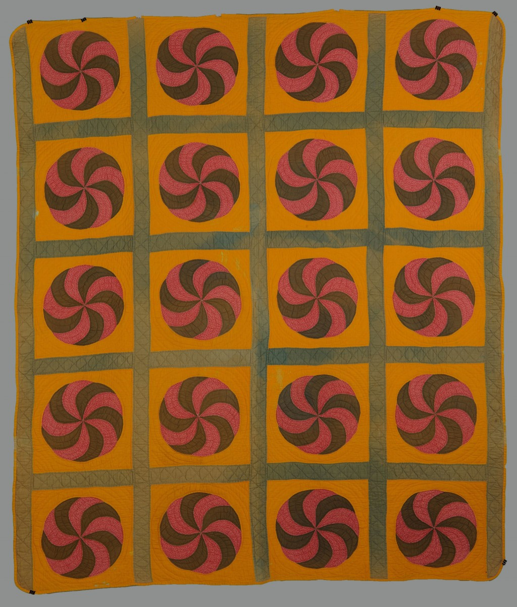 Lot 646: American Cotton Pinwheel Pieced Quilt