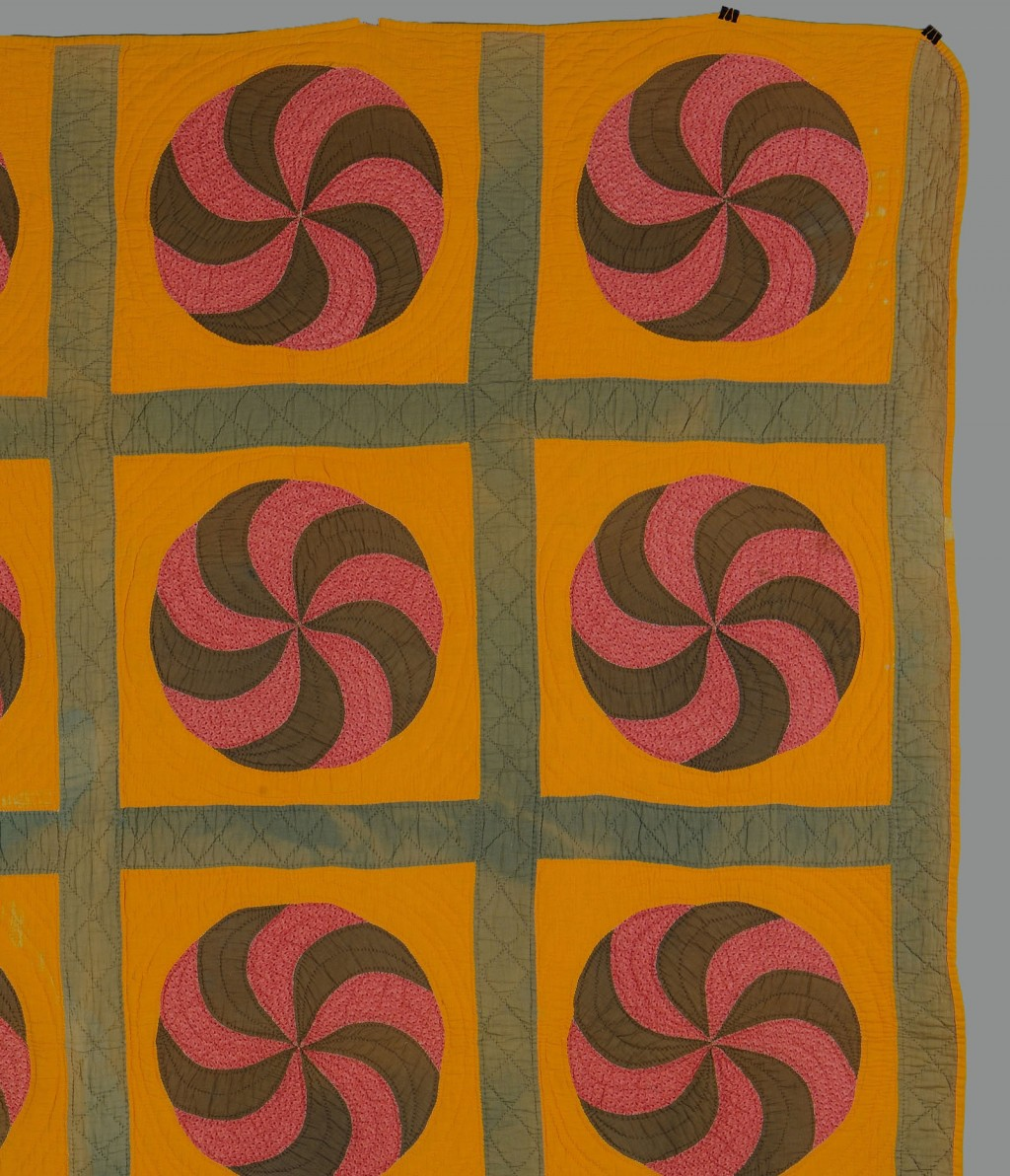 Lot 646: American Cotton Pinwheel Pieced Quilt