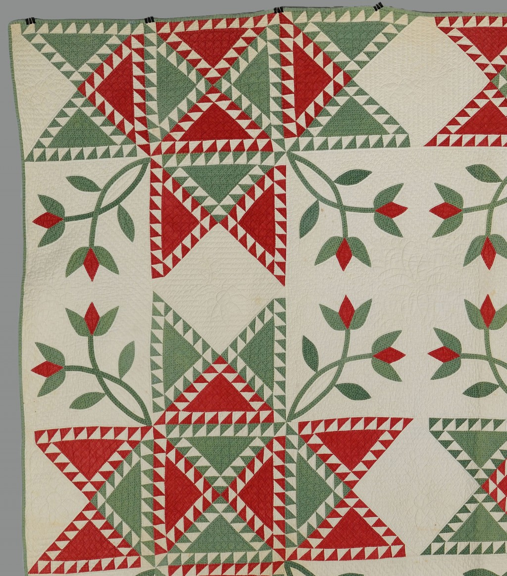 Lot 647: American cotton pieced and appliqued tulip quilt