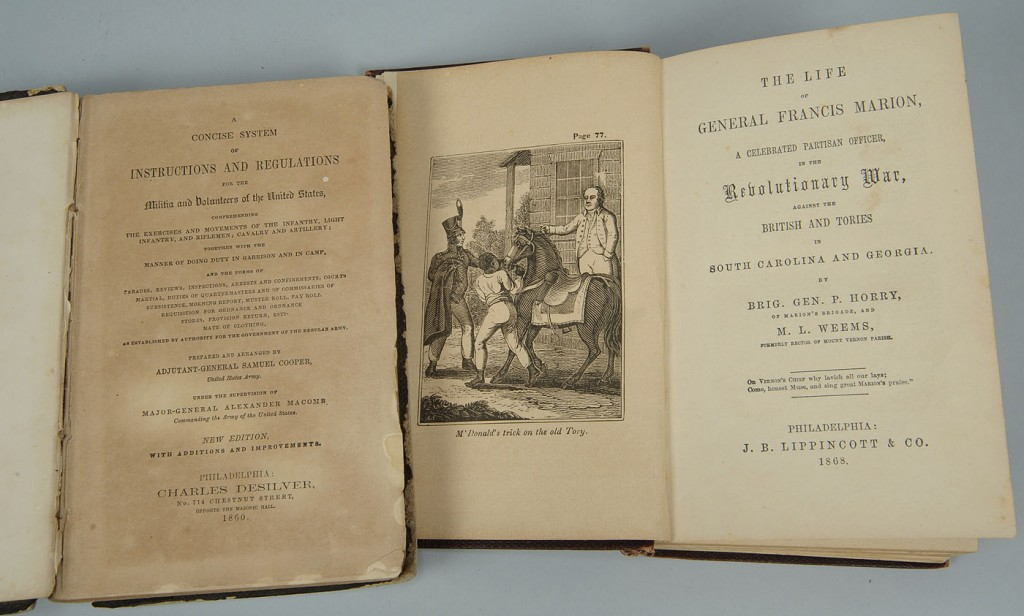 Lot 654: 2 books: Civil War Military manual, Life of Marion