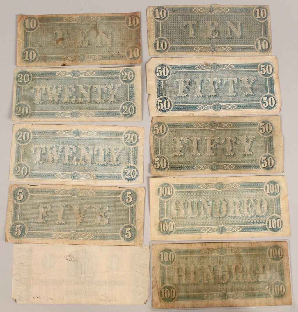 Lot 658: Collection of Obsolete Confederate Currency