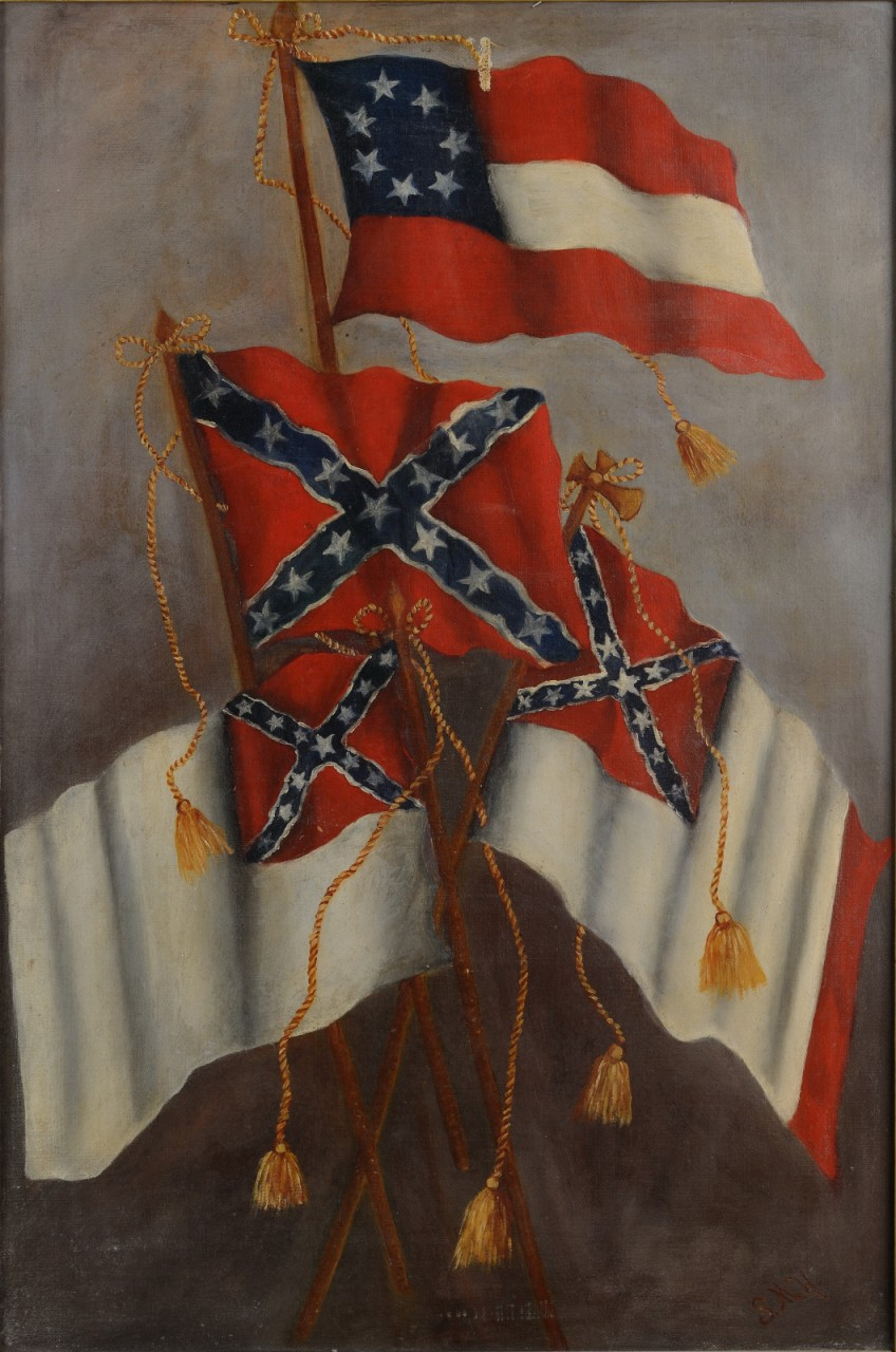 Lot 65: Confederate Flag Oil on Canvas