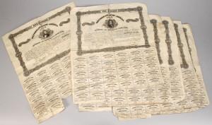 Lot 661: 6 Confederate Bonds $500 and $100