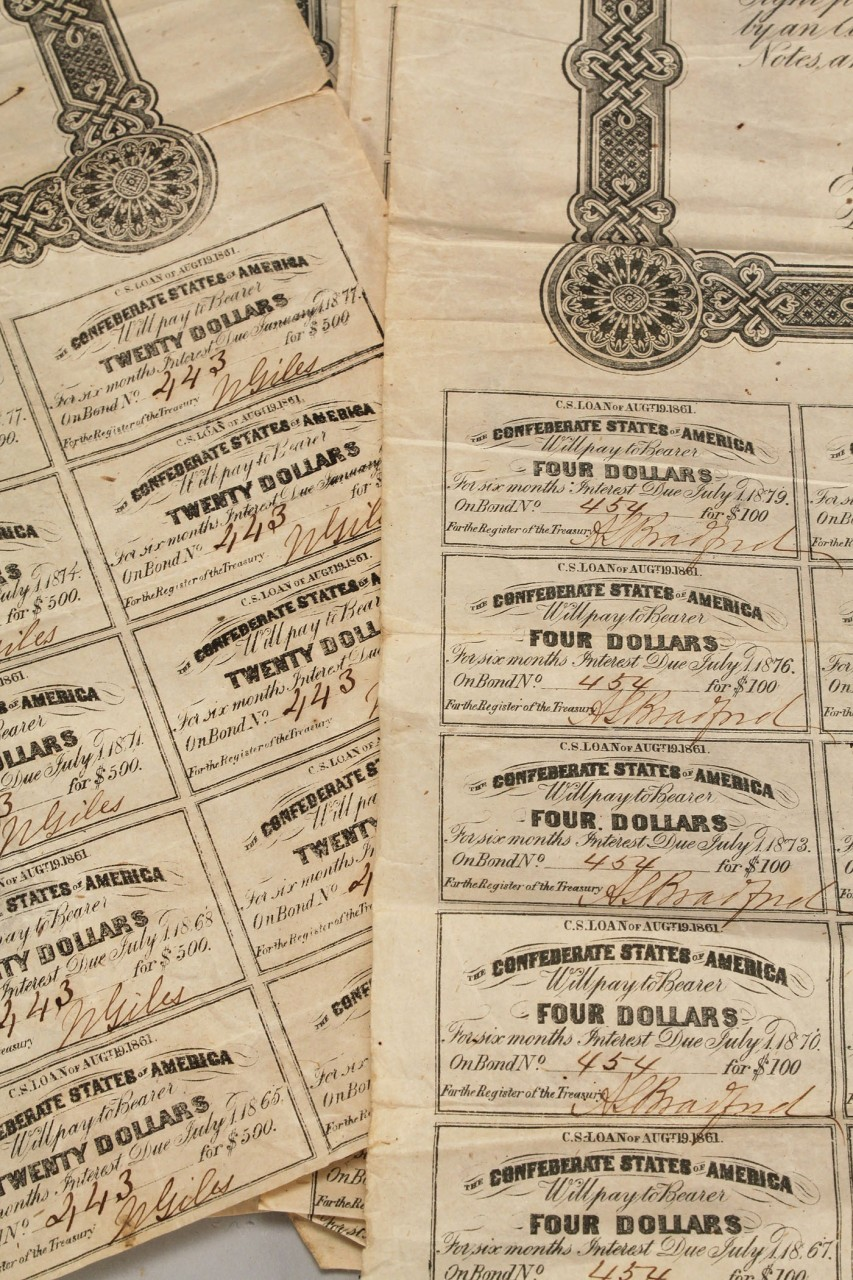 Lot 661: 6 Confederate Bonds $500 and $100