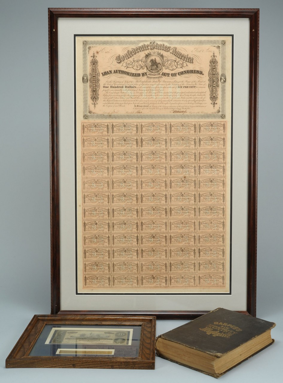 Lot 662: 3 Civil War Era Items, Book, Bond & Currency