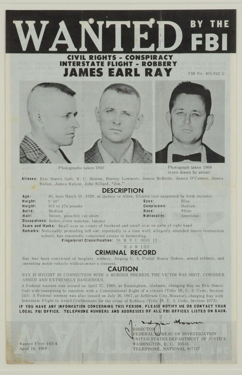"Lot 663: Original James Earl Ray ""Wanted"" Poster"