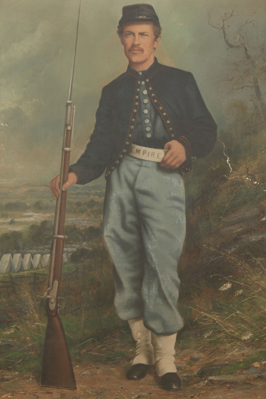 Lot 66: Large Union Civil War Portrait Oil on Canvas