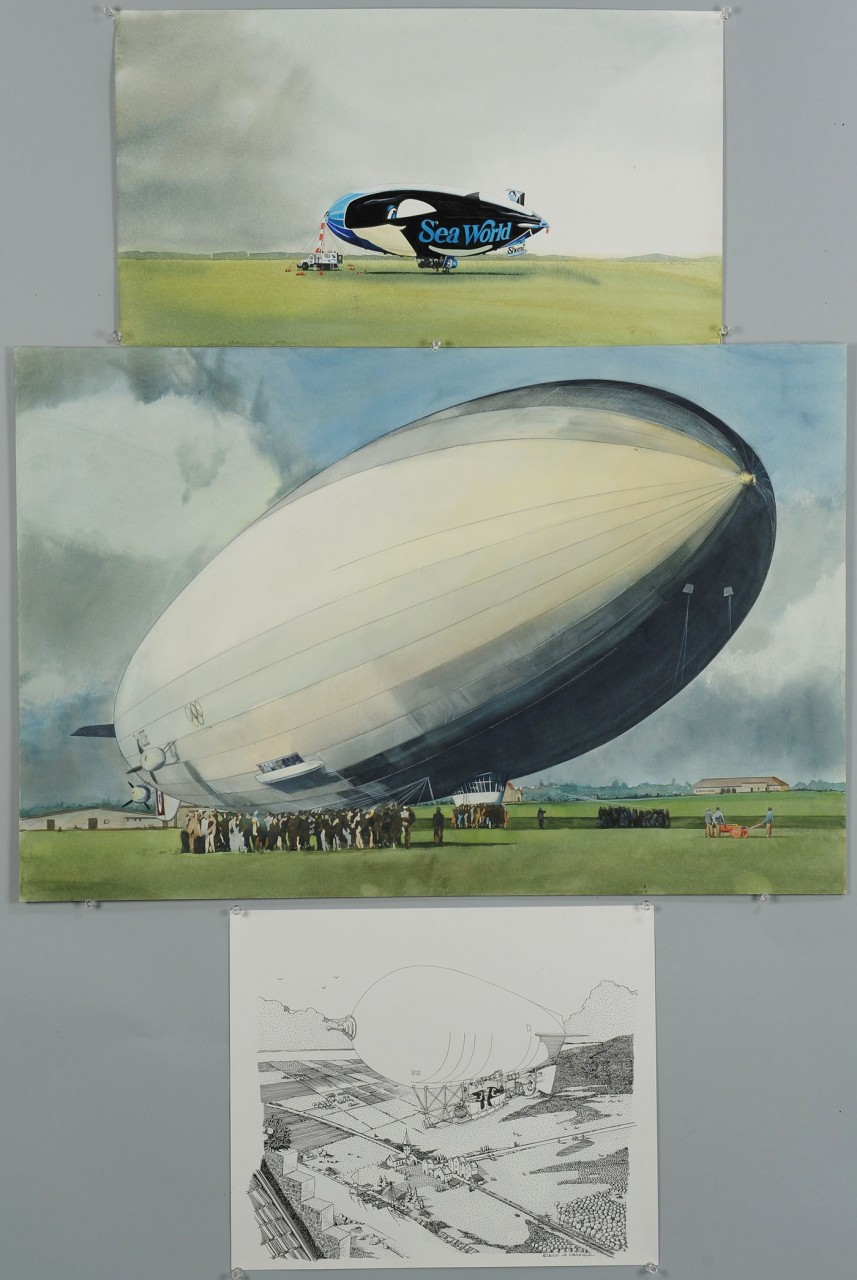 Lot 670: James Caulfield Airship Watercolors & ink drawing