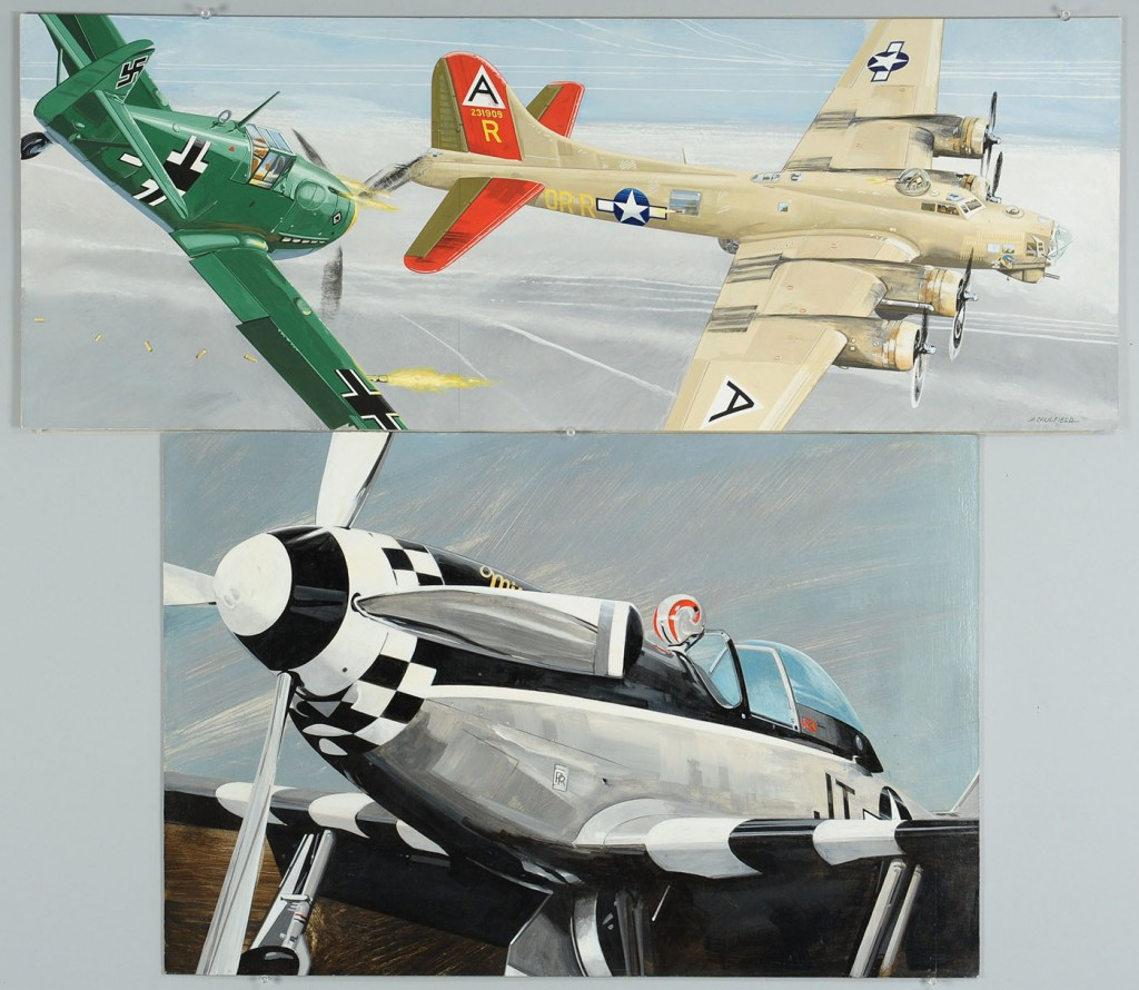 Lot 671: James Caulfield WWII Era Airplane Paintings