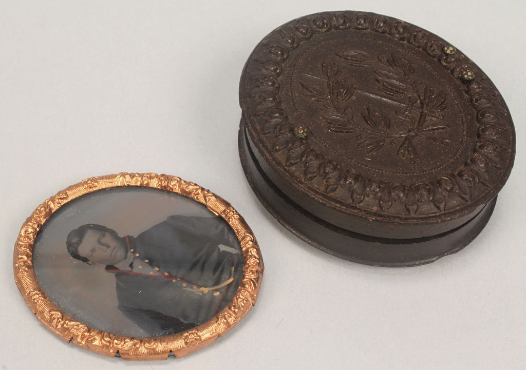 Lot 67: Union soldier tintype in oval gutta percha case