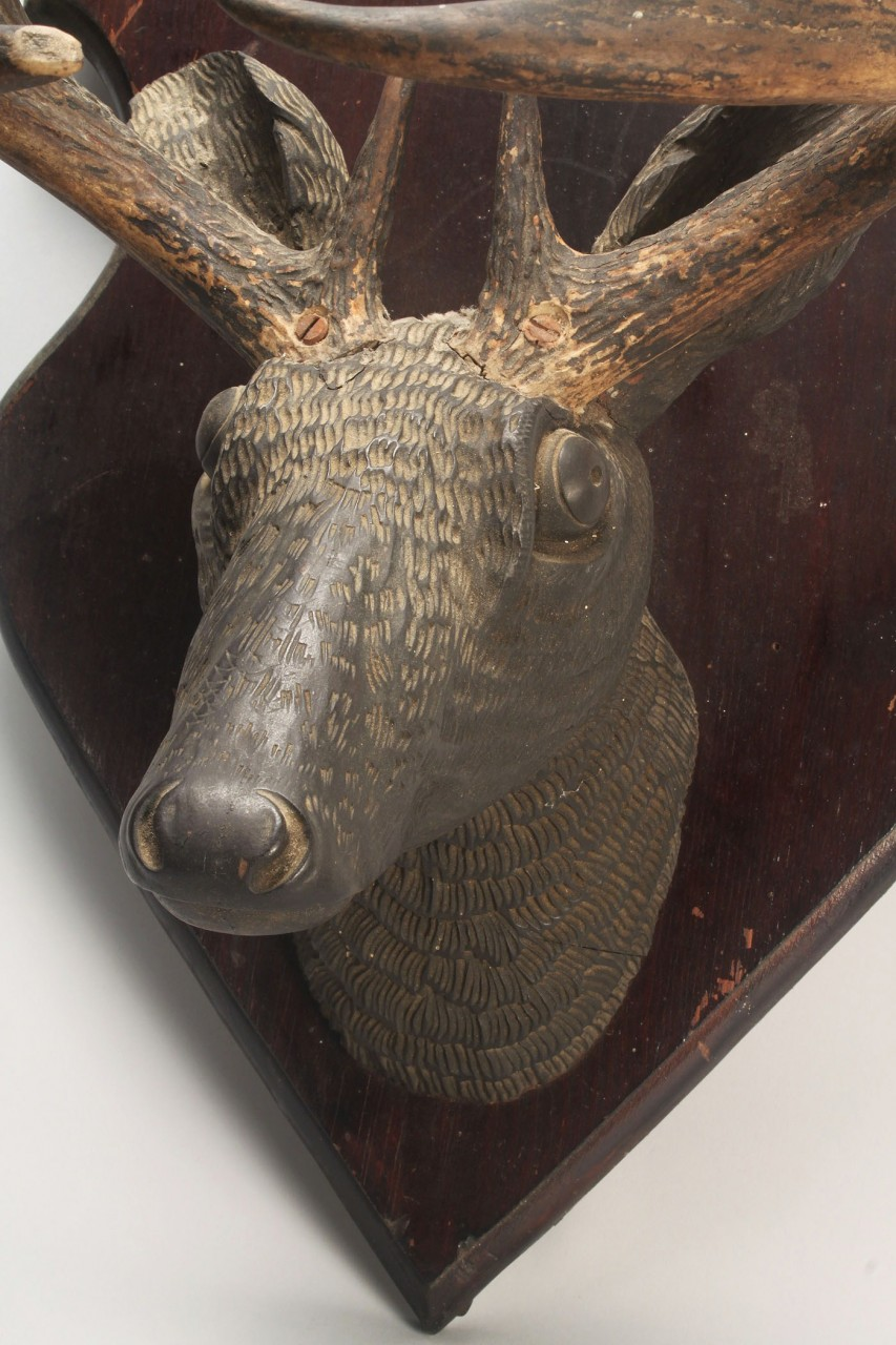 Lot 681: Black Forest Style Carved Deer Head