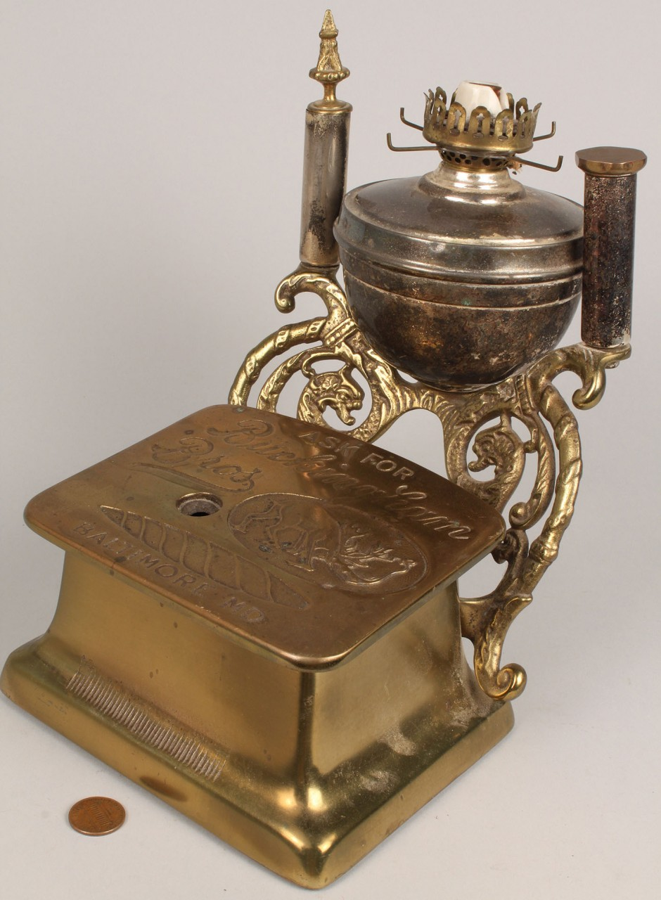 Lot 683: Brass Cigar Cutter lamp, Buckingham Brothers