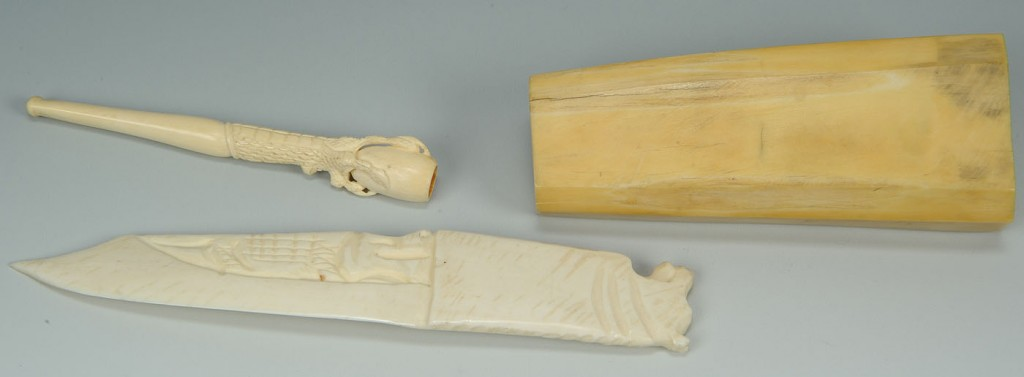 Lot 687: Grouping of Carved Inuit Walrus and Ivory Items