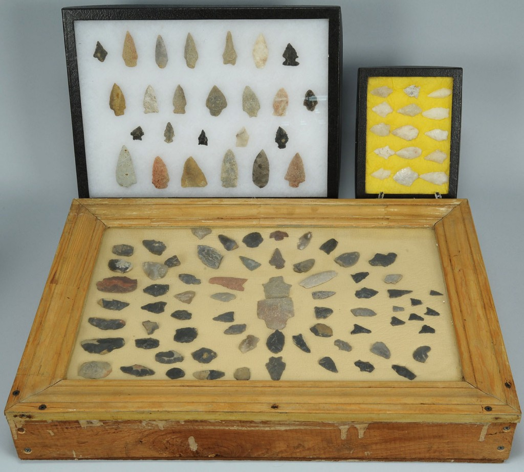 Lot 692: Lot of 3 cases of Native American Points 106 total
