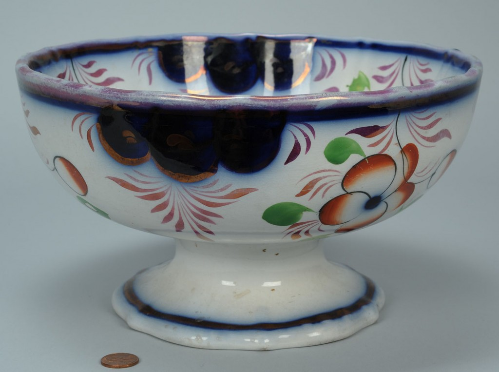 Lot 694: Large gaudy ironstone footed bowl