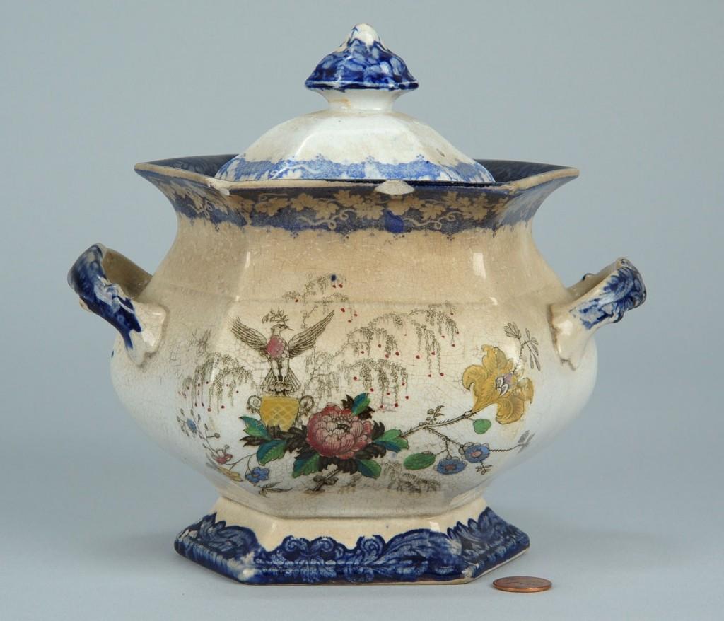 Lot 695: Historical Staffordshire sugar urn w/eagle