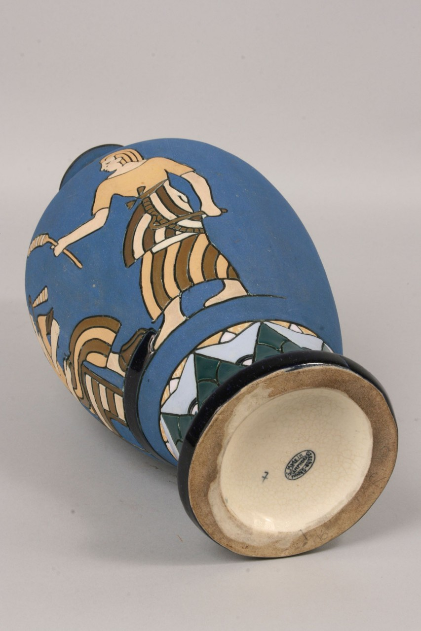 Lot 698: 3 Amphora Vases, Wedding, Egyptian Motif & Enamels
