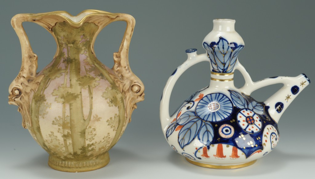 Lot 699: 2 Amphora Vases, Ewer & Trumpet Neck