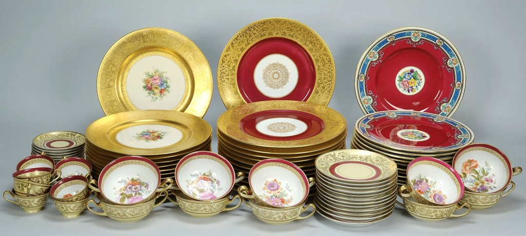 Lot 701: Large group of porcelain dinnerware, 4 patterns
