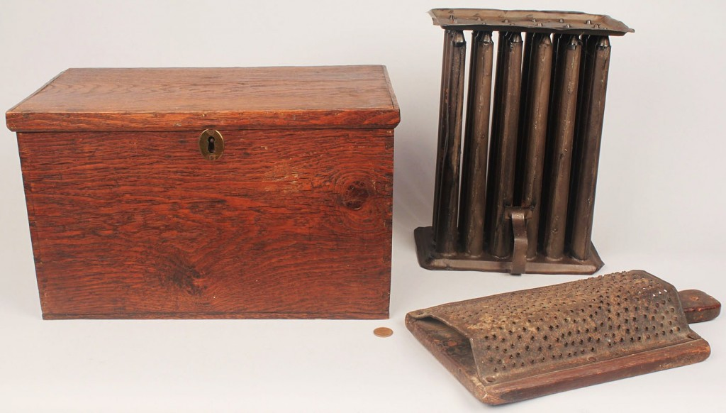 Lot 702: Document Box, Yellow Pine Grader, and Candle Mold