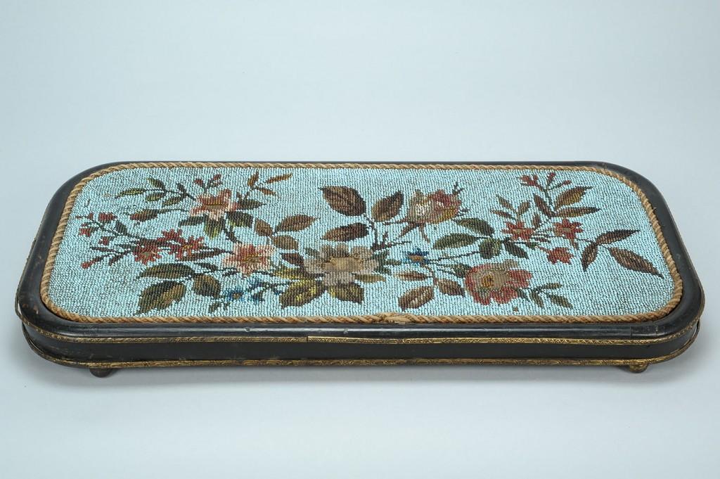 Lot 703: 4 Victorian Bead Decorated Needlework Footstools