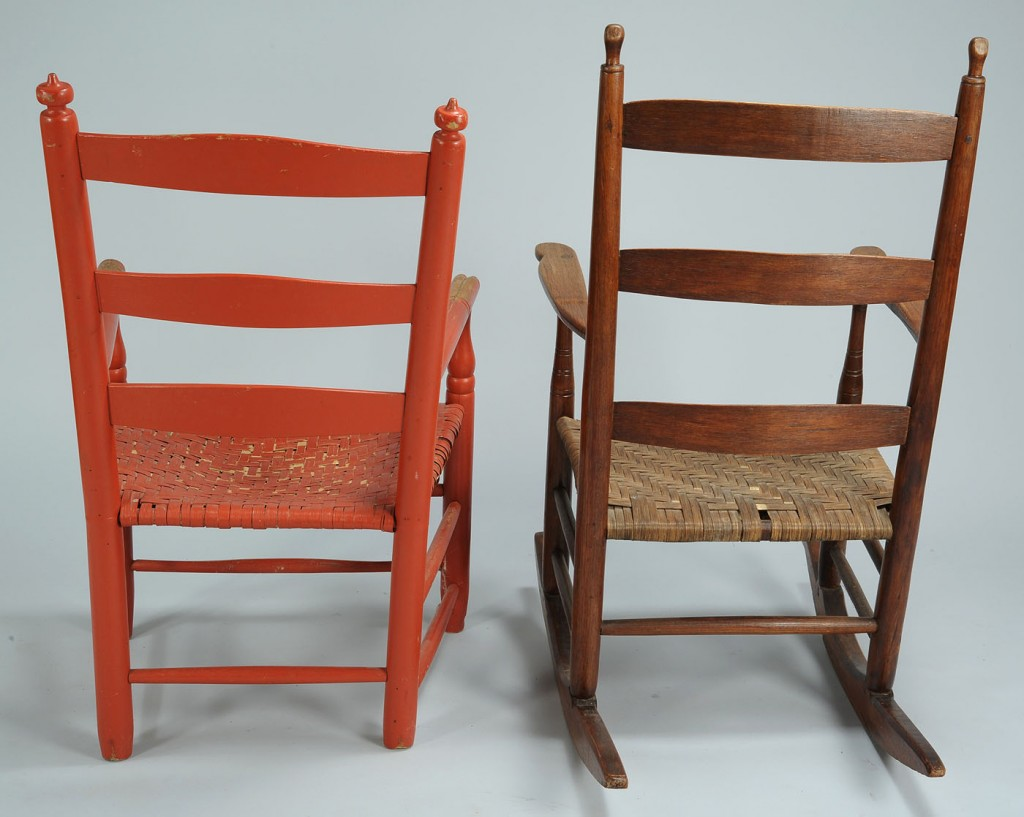 Lot 704: Tennessee Turned Ladderback Chair and Rocker