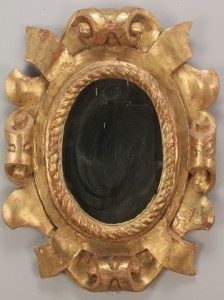 Lot 709: Oval giltwood mirror with rope molded edging
