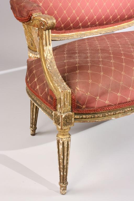 Lot 713: Louis XVI style Giltwood Loveseat