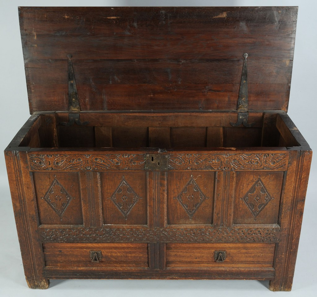 Lot 714: Early Carved English Oak Coffer