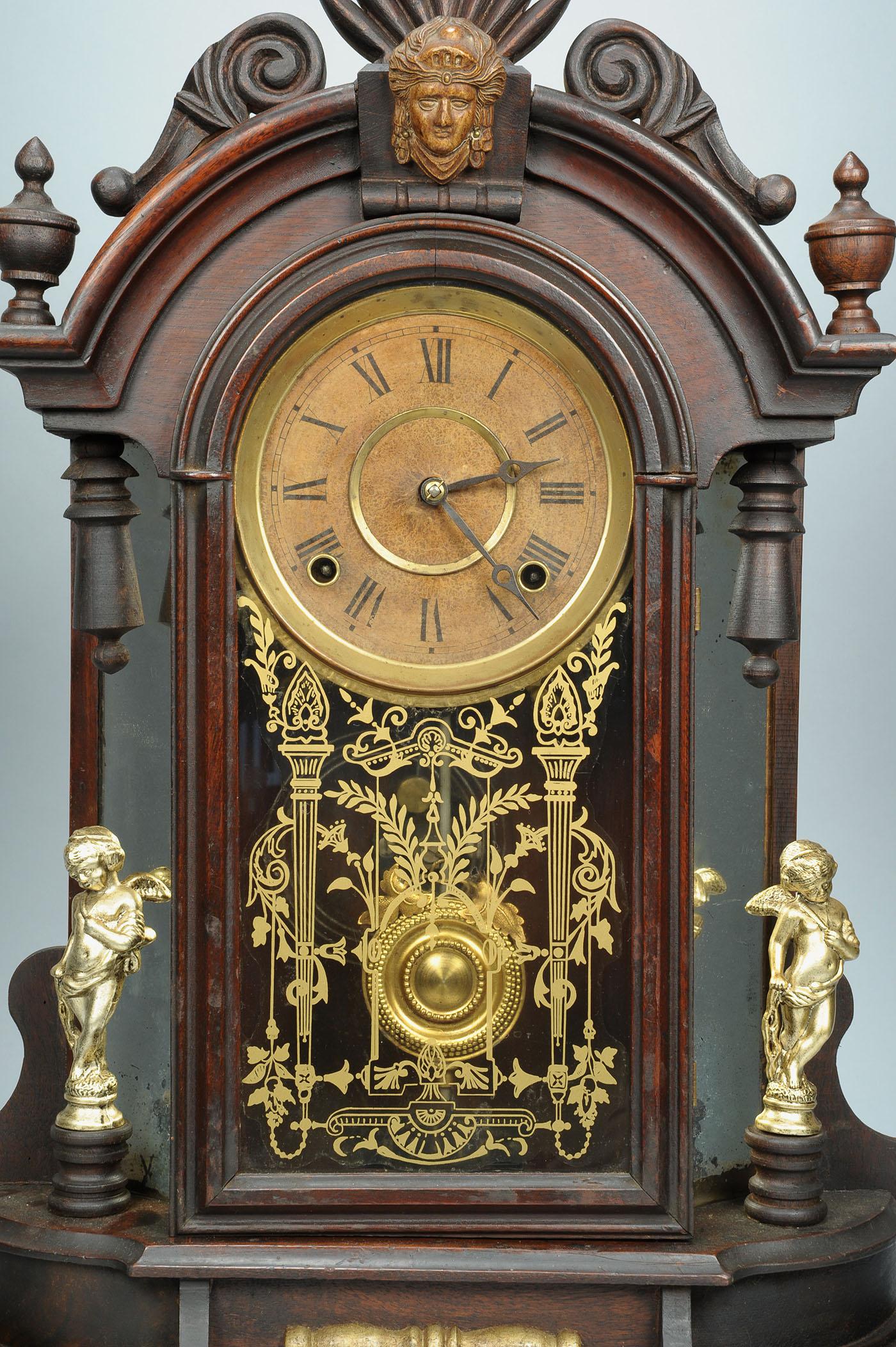 Lot 715 F Kroeber Mirror Side Shelf Clock