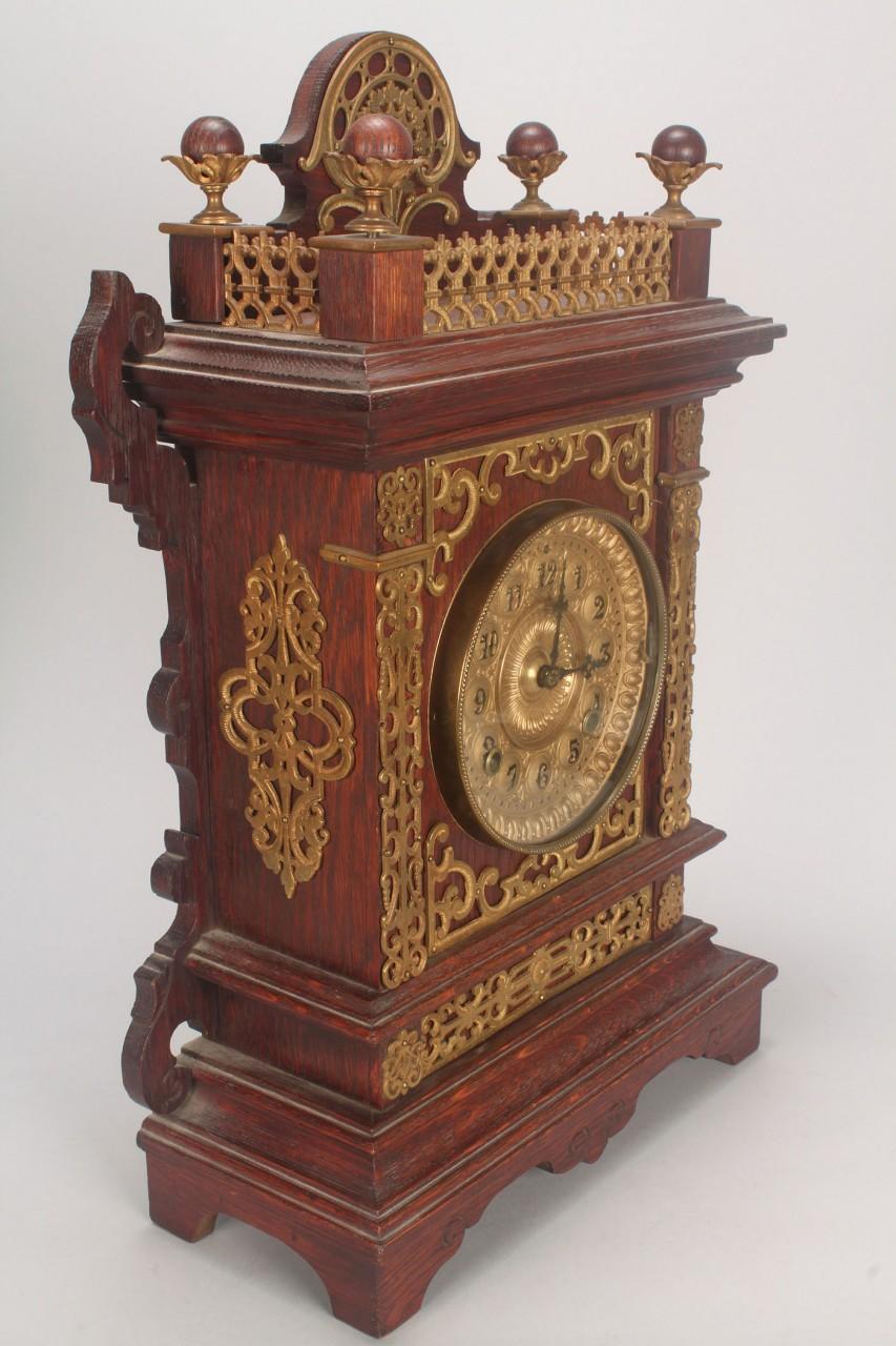 Lot 718: 2 Ansonia clocks: Art Nouveau & Mantle w/ brass