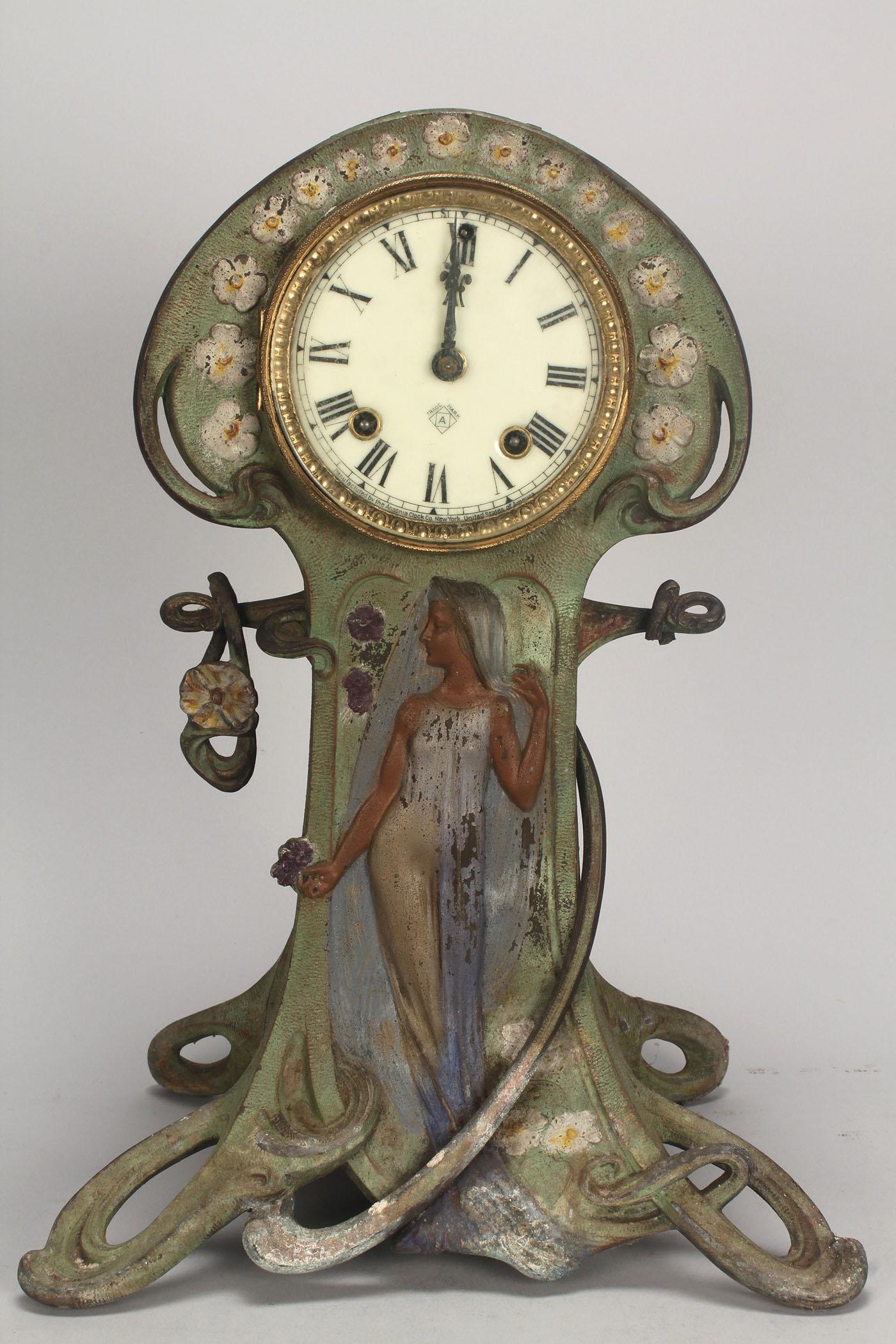 Lot 718 2 Ansonia Clocks Art Nouveau Amp Mantle W Brass