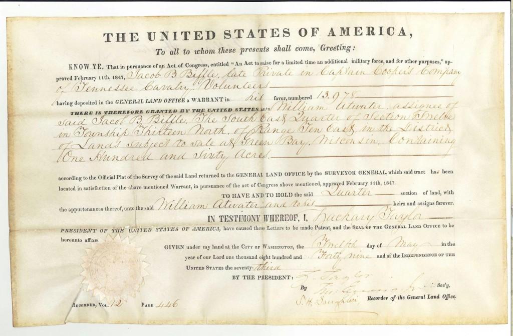 Lot 71: Zachary Taylor land grant to Jacob Biffle, CSA