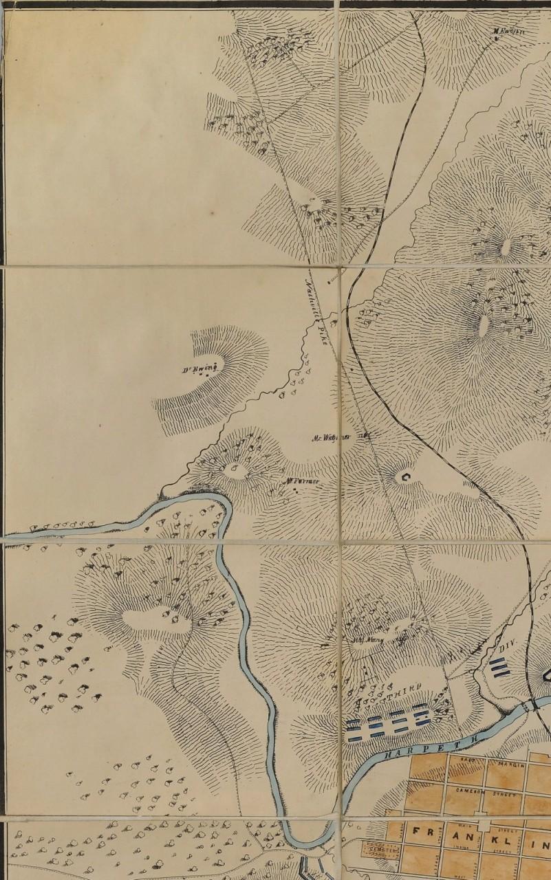Lot 72: Folding map, Battle of Franklin