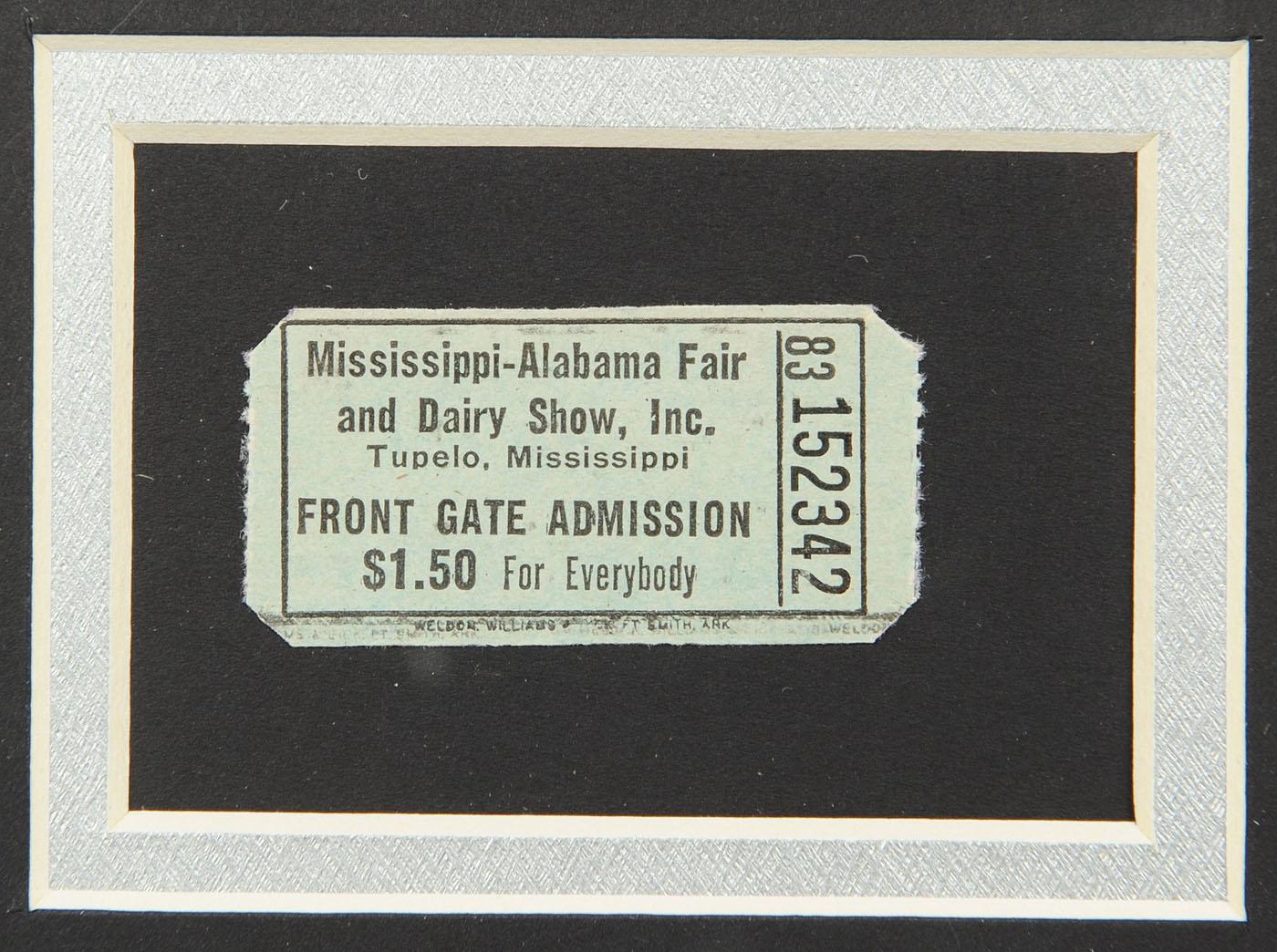Lot 735: Elvis Presley Framed Concert Ticket & Memorabilia