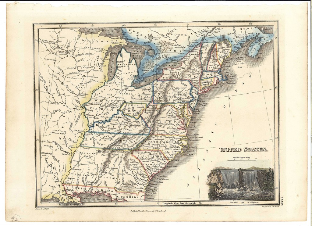 Lot 73: 1813 Wyld Map of US, East TN called Franklinia