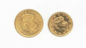 Lot 740: 2 U.S.  One Dollar Gold Coins– 1851, 1874