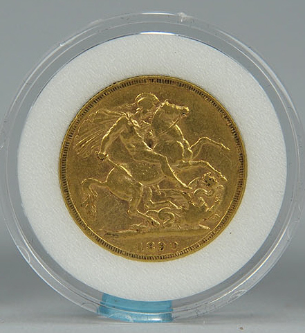 Lot 741: 3 British Sovereign Gold Coins, 1880, 1890, 1895