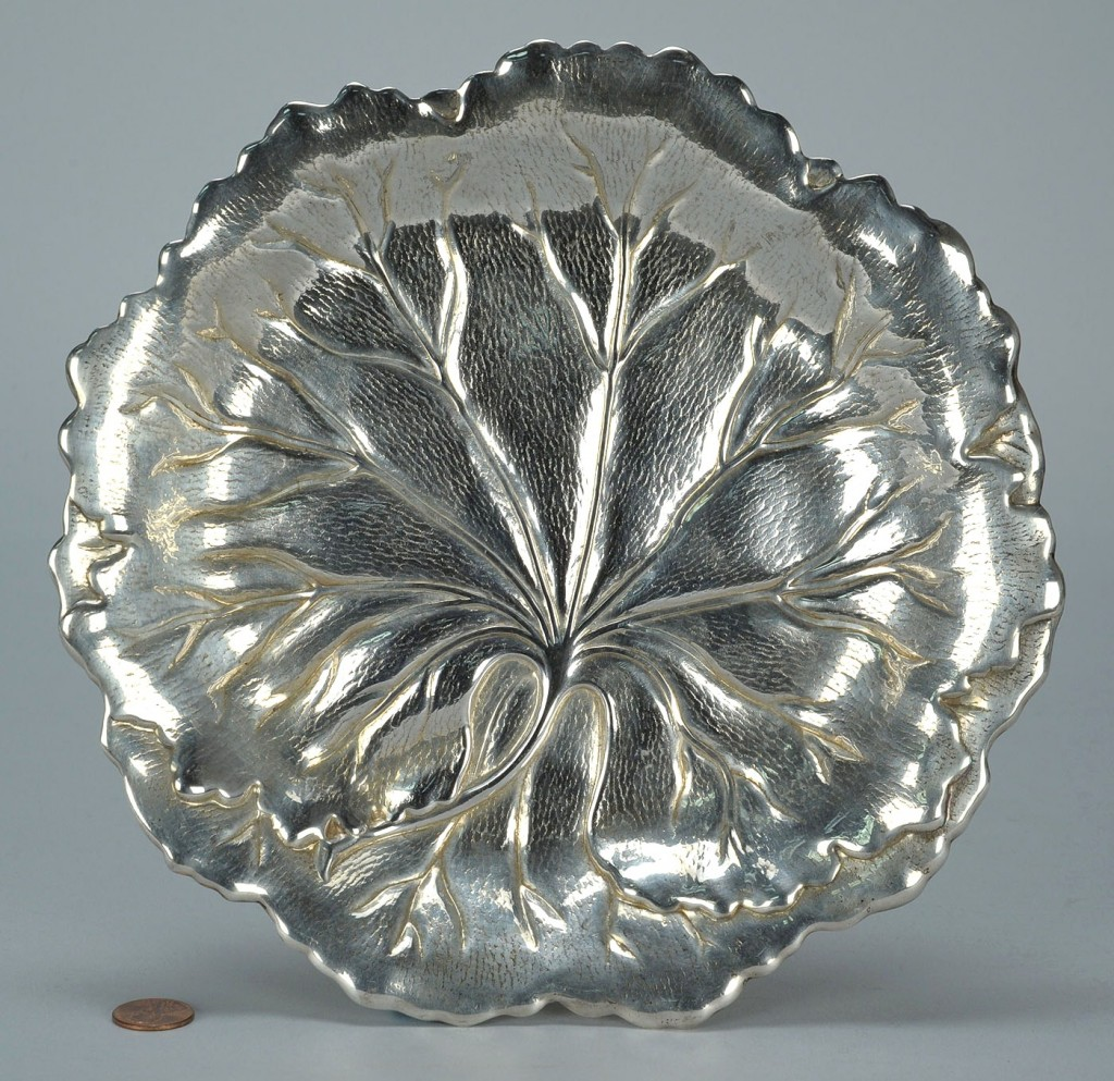 Lot 751: Large International Sterling Leaf Form Dish